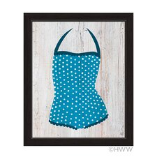 Vintage Blue Polka Dot Bathing Suit Framed Illustration on Framed Canvas