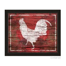 Distressed Wood Rooster Framed Painting Print in Red