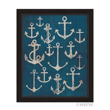 Vintage Anchor Assortment Framed Graphic Art on Canvas