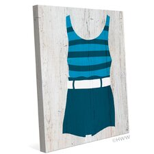Vintage Blue Striped Beach Outfit Illustration Graphic Art on Wrapped Canvas