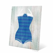 Vintage Blue Stripes Bathing Suit Illustration Graphic Art Plaque
