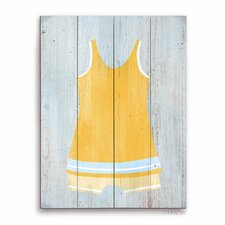 Vintage Yellow Beach Outfit Illustration Graphic Art Plaque
