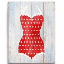 Vintage Red Polka Dot Bathing Suit Illustration Graphic Art Plaque