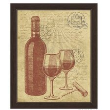 Vintage Bottle and Glasses Of Wine Framed Painting Print