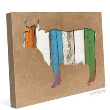 Colored Wood Textured Cow Painting Print on Wrapped Canvas