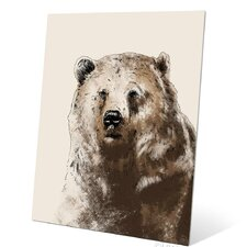 Painted Bear Metal Graphic Art Plaque