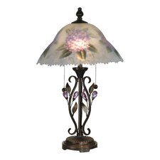 "Hand Painted Purple Flower 23.5"" H Table Lamp with Bowl Shade"