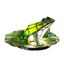 """Tiffany Frog Lily Pad 7.5"""" H Table Lamp with Novelty Shade"""