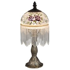 "Rose Beaded 13.5"" H Table Lamp with Bowl Shade"