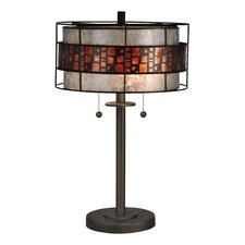 "Cobblestone 22.5"" H Table Lamp with Drum Shade"
