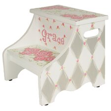 2-Step Manufactured Wood Personalized Rose Step Stool