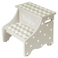 2-Step Manufactured Wood Personalized Chevron Children's Step Stool with 200 lb. Load Capacity