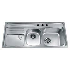 "45.88"" x 19.88"" Top Mount Double Bowl Kitchen Sink"