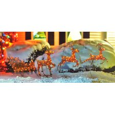 4 Piece Swaying Reindeer and Sleigh Lighted Christmas Decoration Set