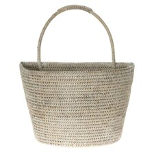 La Jolla Handwoven Rattan Wall Basket, Large, 13 X 8 X 15.5 Inch, White Wash