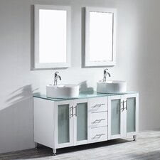 "Tuscany 60"" Double Bathroom Vanity Set with Mirror"