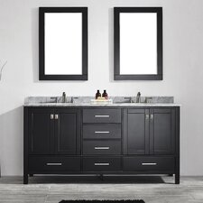 "Gela 72"" Double Bathroom Vanity Set with Mirror"