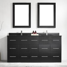 "Latina 72"" Double Bathroom Vanity Set with Mirror"