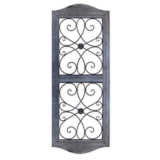 Woodwall Art With Metal Double Scroll Wall Decor