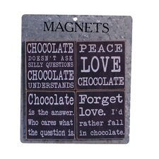 4 Piece Wood Magnets 'Chocolate' Wall Decor Set