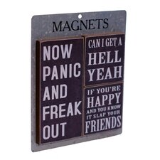 3 Piece Wood Magnets 'Now Panic' Wall Decor Set