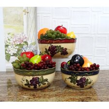 Colorful Grapes 3 Piece Mixing Bowl Set