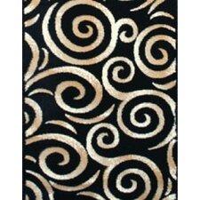Swirl Oriental Black Area Rug
