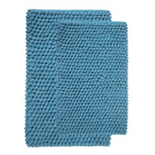 2 Piece Cotton and Microfiber Handloom Bath Rug Set