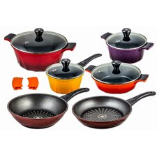 12 Piece Swiss Inspired Diamond Frying Pan Non-Stick Cookware Set