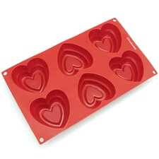 6 Cavity Double Heart Silicone Mold Pan