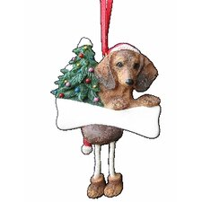 Dachshund Red Dangling Dog Ornament (Set of 2)