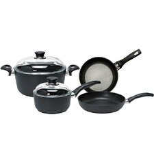 Rialto Aluminum Non-Stick 6-Piece Cookware Set with Thermopoint Fry Pans