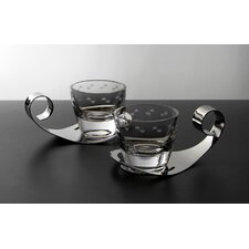 4 Piece Crystal and Stainless Steel Candle Holder Set