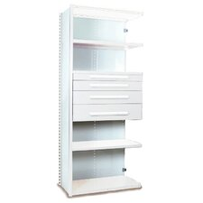 "V-Grip 84"" Shelving with Drawers Unit - 4Dr with 5 Shelf Closed AddOn, 4 drawers - (2) 4.5"" & (2) 6"" H; 200 lb capacity"