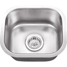 "15"" x 13"" Stainless Steel 18 Gauge Single Bowl Bar Sink"