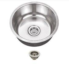 "17.13"" x 17.13"" Stainless Steel 18 Gauge Single Bowl Round Bar Sink"