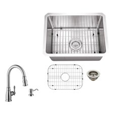 "20"" x 15"" Single Bowl Radius Undermount Stainless Steel Bar Sink with Faucet"