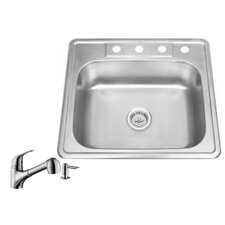 "25"" x 22"" Single Bowl Drop-In Stainless Steel Kitchen Sink with Faucet"