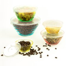 10 Piece Stackable Wave Design Glass Storage Bowl Set