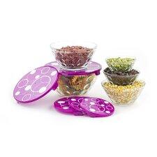 10 Piece Stackable Dots Glass Storage Bowl Set