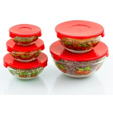 5 Piece Stackable Glass Storage Bowl Set