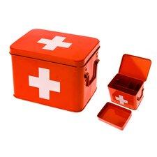 Medizinbox in Rot / Weiß aus Metall