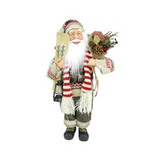 Standing Santa Claus in Knit Sweater Christmas Figure with Skis and Lantern