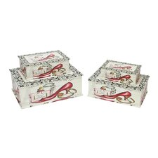 4 Piece Vintage French Fashion Decorative Wooden Storage Box Set