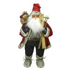 Sporty Skiing Standing Santa Claus Christmas Figure with Burlap Gift Bag