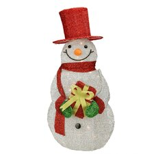 Lighted Tinsel Snowman with Gift Christmas Decoration