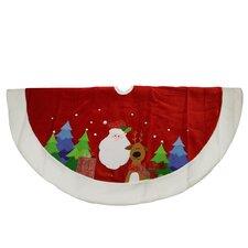 Embroidered Velveteen Santa Claus and Reindeer Christmas Tree Skirt