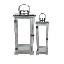 Country Rustic 2 Piece Wood and Glass Lantern Set