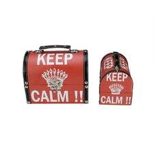 2 Piece Keep Calm Decorative Wooden Storage Box Set