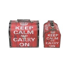 2 Piece Keep Calm and Carry On Decorative Wooden Storage Box Set